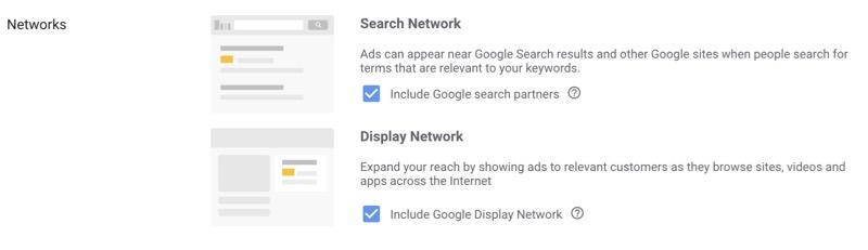 network options google ads